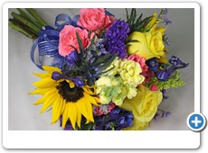 blue-and-yellow-sunflower-prom-flowers
